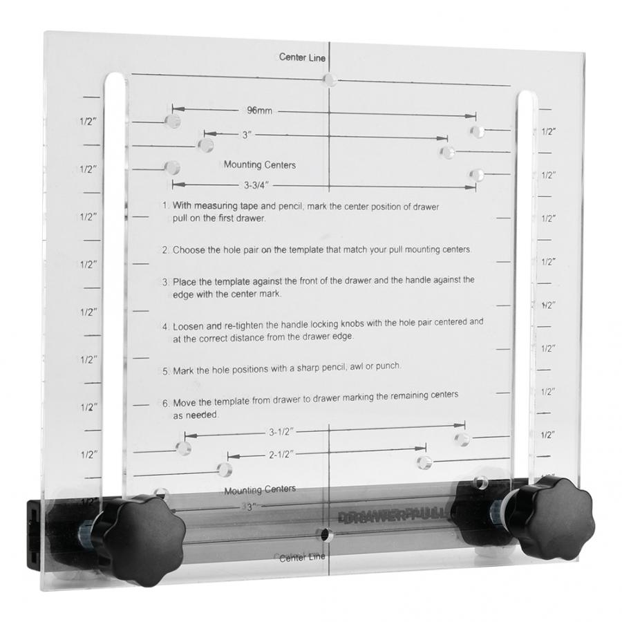 """Drawer and Door Pull DrilliIng Installation Jig Set 3/"""" 3.5/"""" 4/"""" and 96 mm Width"""