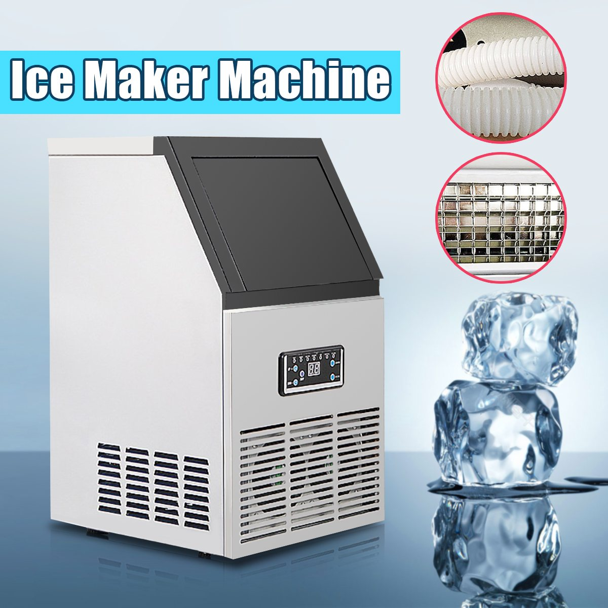 220V 50kg/24H 110lb Portable Automatic ice Maker, ice cube machine ice maker for family, small bar,coffee shop