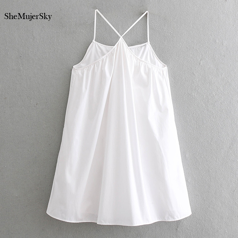 Shemujersky White Halter Playsuits Poplin Women Sleeveless Elegant Style Rompers 2019 Jumpsuits Rompers