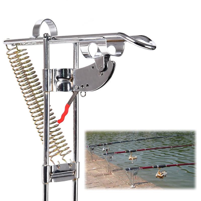 Herramienta de elevación automática de acero inoxidable de alta calidad soporte para caña de pescar doble resorte ajustable de 3 niveles