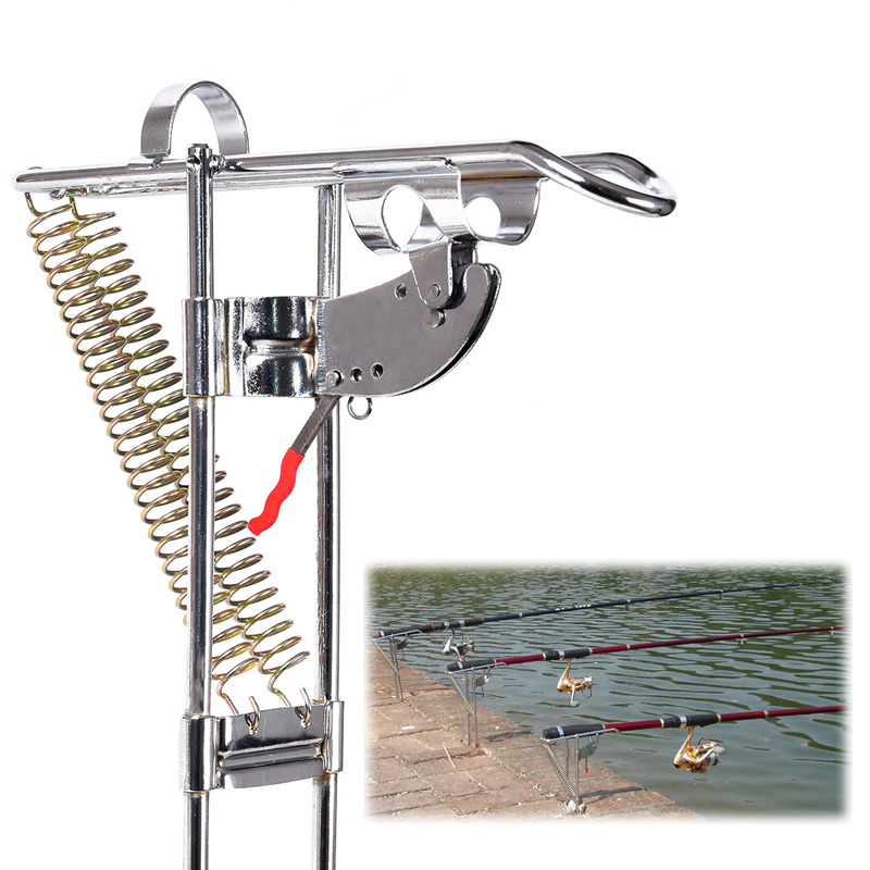 High Quality Stainless Steel Automatic Lifting Tool Fishing Rod Holder Mount Bracket Double Spring 3-Level Adjustable