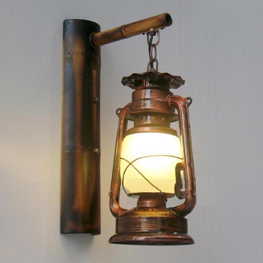 Retro Loft Vintage barn lantern Bamboo Wall lamps Milky