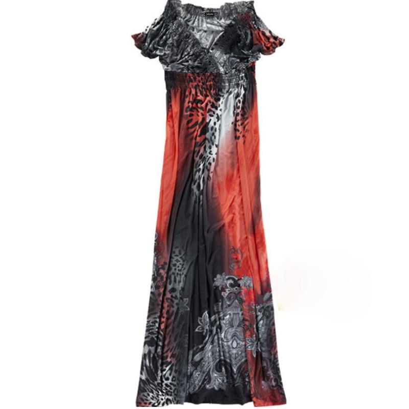 plus size Maxi Dresses Women's Large Size Summer Beach tunic V Neck Milk Silk Bohemian Female Casual Long Slim Elastic vestidos 4