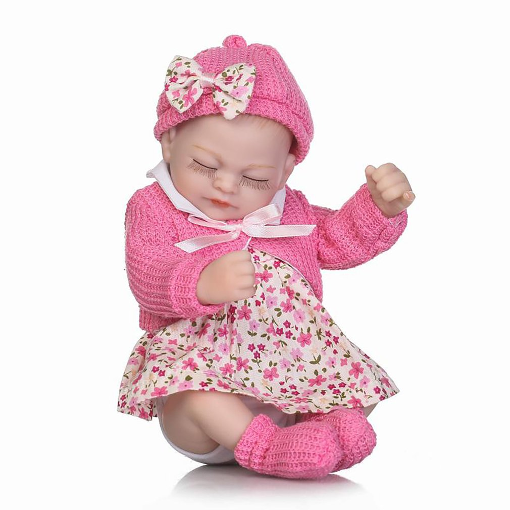 26CM Reborn Baby Doll Lovely Girl Full Body Soft Silicone Lifelike Newborn Doll Baby Girl With Floral Dress Cosplay Kids Gifts