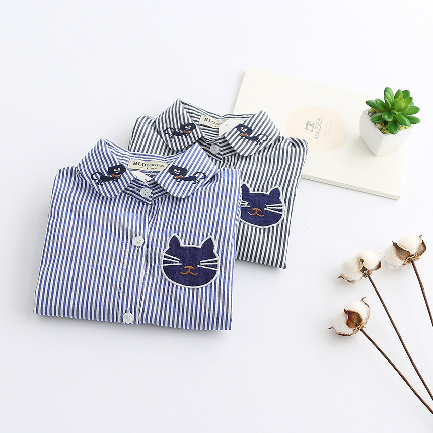 fashion 2017 spring autumn kids girl blouse striped baby tops turn down collar cat print girls shirt suit 2~7 age kid clothes