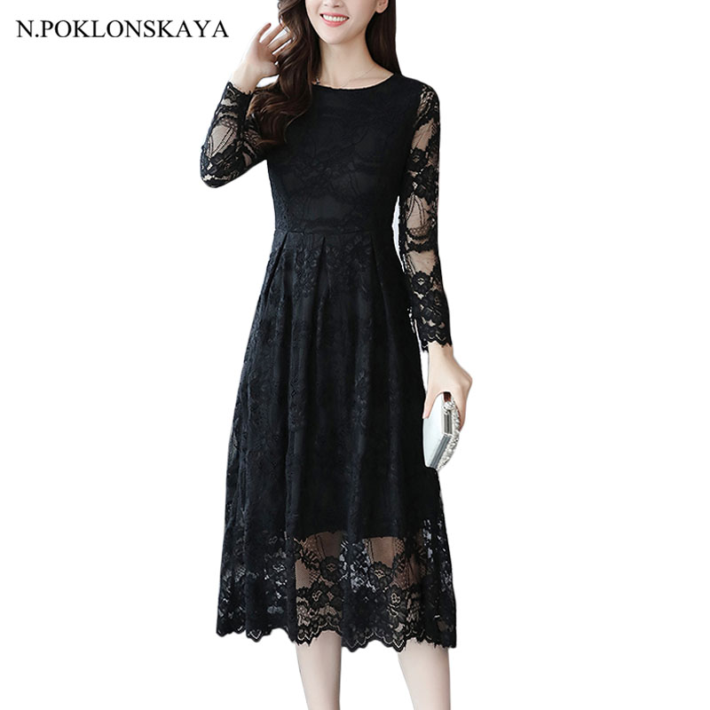 High Quality Women Elegant O-neck Bridesmaid Party Lace Dress Midi Dress Long Sleeve Spring Autumn Floral Pleated Dresses Robe