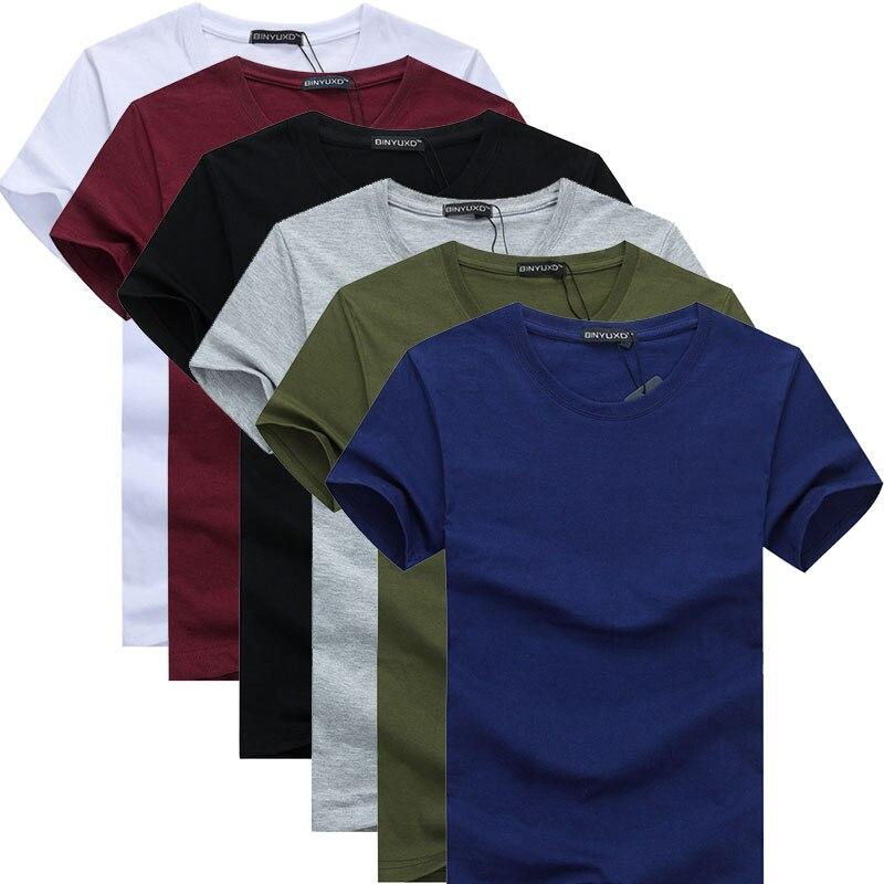 6pcs  2019 Simple Creative Design Line Solid Color Cotton T Shirts Men's New Arrival Style Short Sleeve Men T-shirt Plus Size