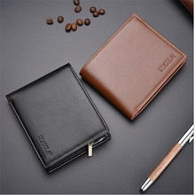 цена на Men Soft PU Leather Wallet Zipper Coin Bag Solid Male Purse Clutch Card Holder Men Cheap Short Thread Wallets Men Carteira 2019