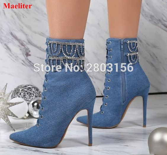 Newest High Heel Ankle Boots Pointed Toe Zipper Fashion Denim ...
