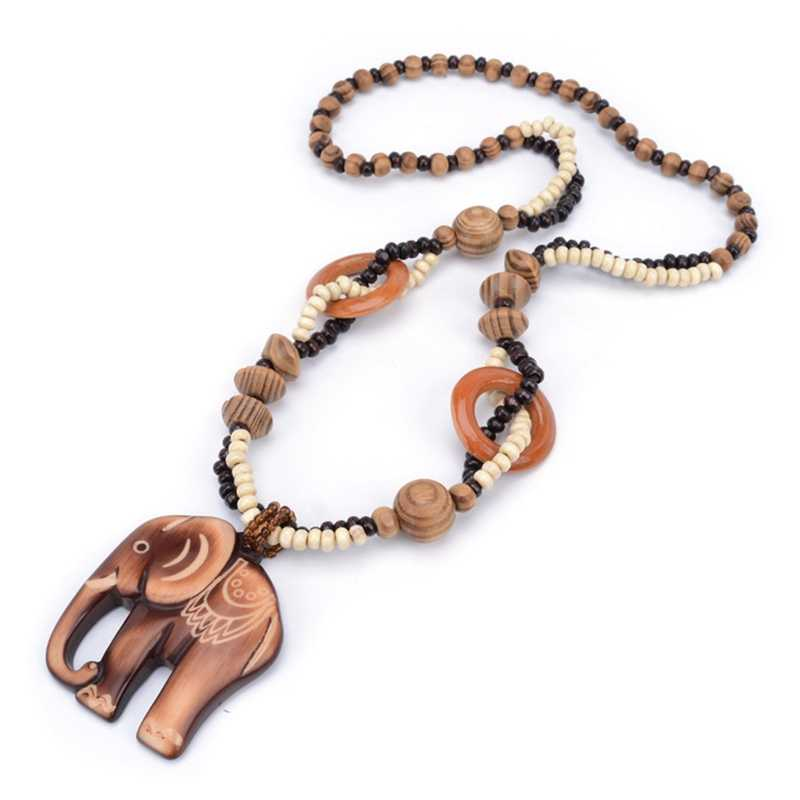 1Pc Women Boho Style Ethnic Handmade Bead Wood Elephant Pendant Long Necklace Sweater Chain Jewelry Gift