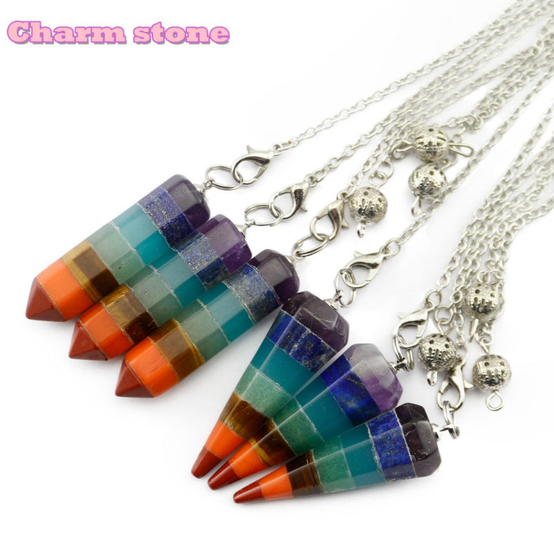 Rainbow Hexagon cone 7 Chakra Layered Stones Fashion jewelry Spiritual Pendulums Dowsing Reiki Healing crystal Hexagon Bullet