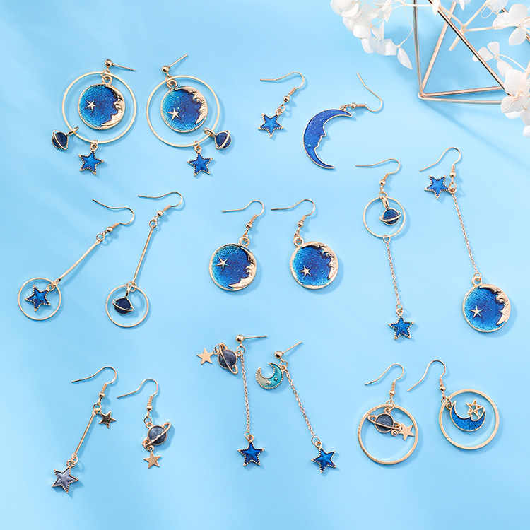 2018 New Creative Blue Universe Asymmetric Earrings For Women Ear Accessories Cute Moon Star Drop Pendientes Tass Girl Jewelry