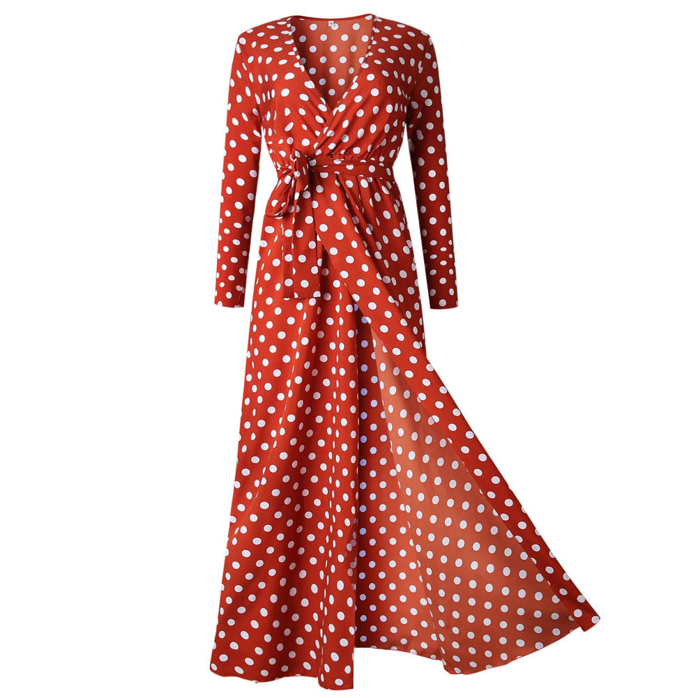 Red Dress New Fall Sexy Womens Holiday Polka Dots Slit Ladies Bohemian Sashes Maxi Long Sleeve High Split Printed Autumn Dress 2