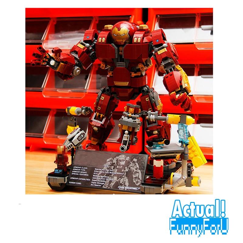 цена на Lepin 07101 Super Genuine Heroes 76105 Iron Man Anti Hulk Mech 1527Pcs Toy Building Bricks Blocks Model AVENGERS Infinity War