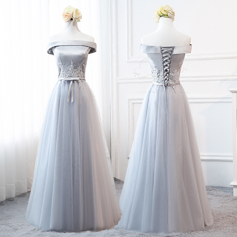 MNZ958#2018 spring summer new grey Bridesmaid Dresses long medium ...