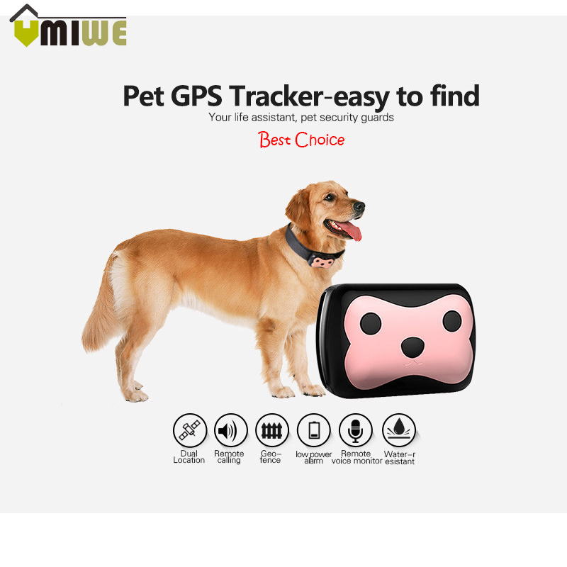 Mini Pets GPS Tracker Smart Waterproof Cats Dogs GPS With Collar Smartphone Remote Control GPRS GPS+LBS Dual Location With APP