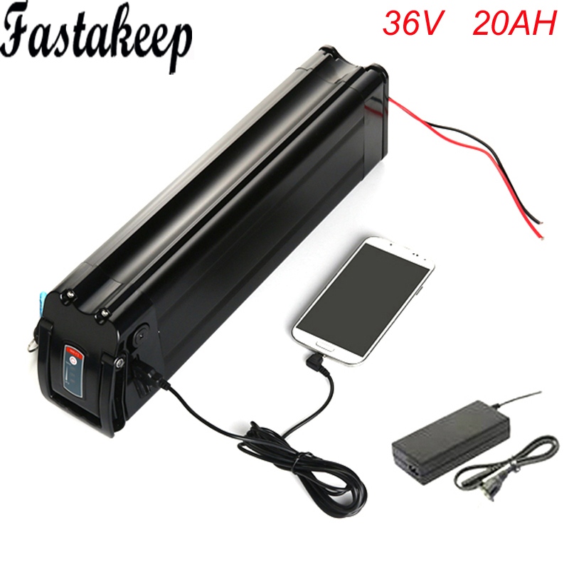 36V 10AH Electric Bicycle Battery Pack fit 250-350W E-bike Lithium Silver Fish