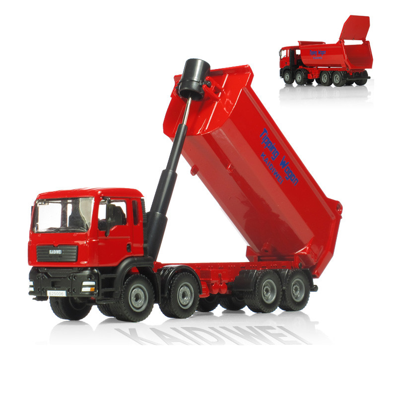 KAIDIWEI Alloy engineering car model toy all alloy 1:50 dump truck eight wheel truck toy model kid toys gift Red