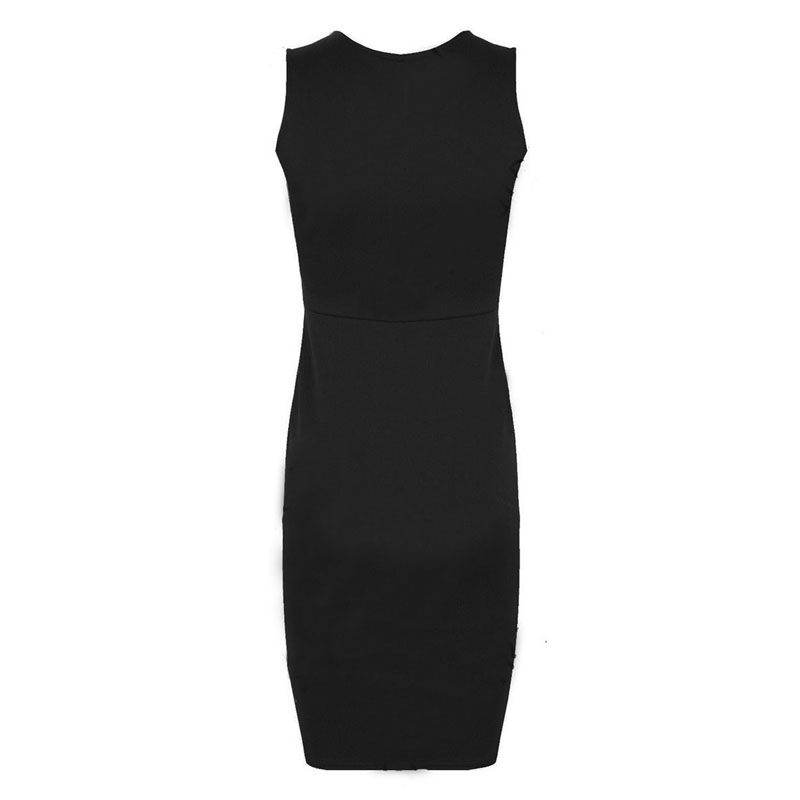 58e1ec7410c Woman Fashion PU Leather Dress Slim Round Collar Sleeveless Women Sheath  Knee Length Dress PU Leather Patchwork Dresses 2XL-in Dresses from Women's  Clothing ...