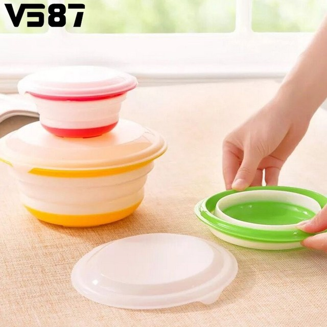 3Pcs/Set Silicone Collapsible Storage Bowls Dish Lids Stackable Food Meal  Prep Containers Home Office