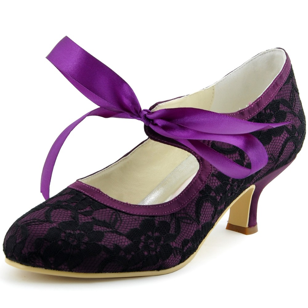 A3039-2 Black Purple Bride Bridesmaids Mary-Jane Bridal Party Pumps Square Heels Satin Lace Ladies Women Wedding Dress Shoes