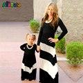 2017 rayas de Color de Contraste en blanco y Negro vestido de la muchacha Niños y Trajes A Juego de ropa de la Familia de Madre e hija de la madre vestidos