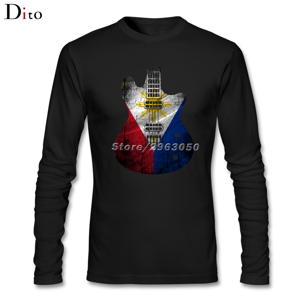 Guitar Flag Philippines Flag Under Tshirts Custom Long Sleeve Family Tshirts Male Men - intl