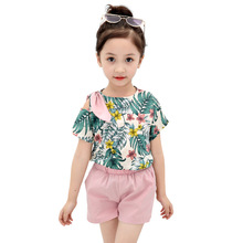 hot deal buy kids clothes 2019 new summer print o-neck girls clothing sets short sleeve tshirt+shorts 3-12 years  baby girl clothes