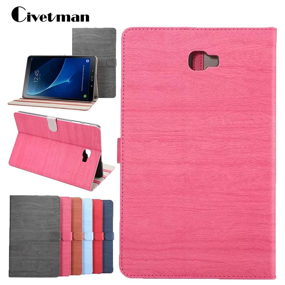 Civetman Fashion wood grain PU Leather Tablet Cover Case with Wake & Sleep Feature For Samsung Galaxy Tab A 10.1 T580 T585 pu leather cover case for samsung galaxy tab 2 p3100 p3110 7 inch case pc fashion polka dots with sleep wake