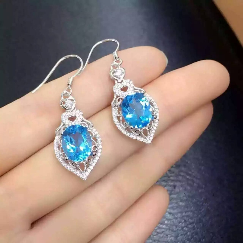 natural blue topaz stone drop earrings 925 silver Natural gemstone earring women personality drop Earrings for anniversary natural stone geometry drop earrings page 9
