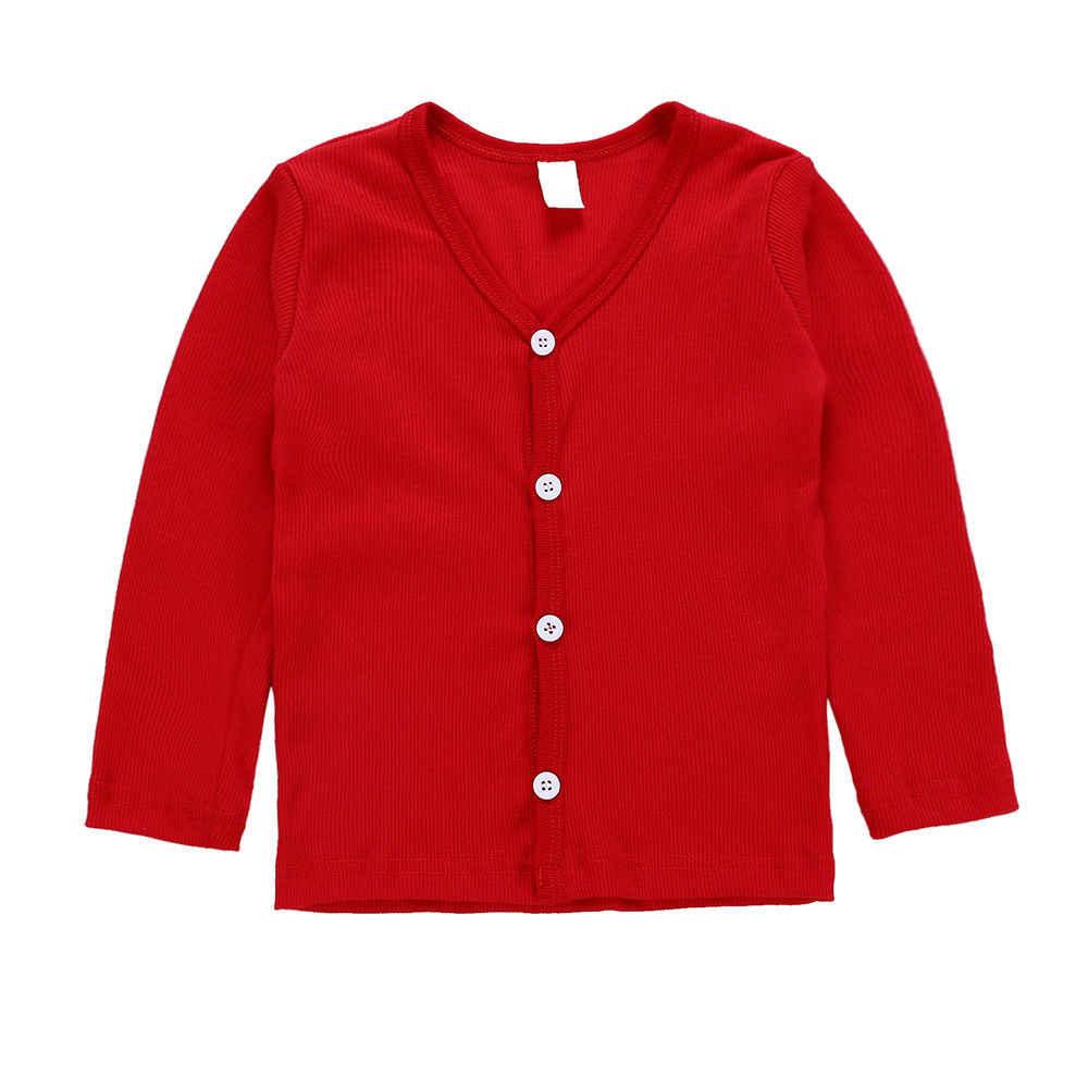 Toddler Trẻ Em Bé Cậu Bé Cô Gái Dệt Kim V cổ Áo Len Áo Khoác Cardigan Dài Tay Áo Top Outwear