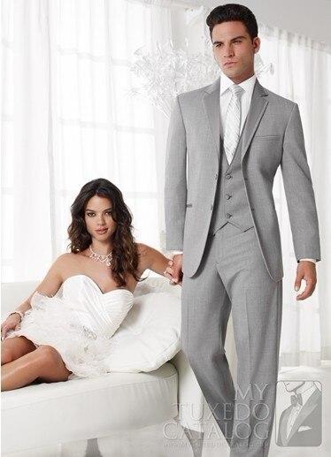 Moda Mens Ternos Padrinhos Notch Lapela Do Noivo Smoking Light Grey Tiras de Casamento Melhor Homem Terno (Jacket + Pants + Tie + Vest) A60