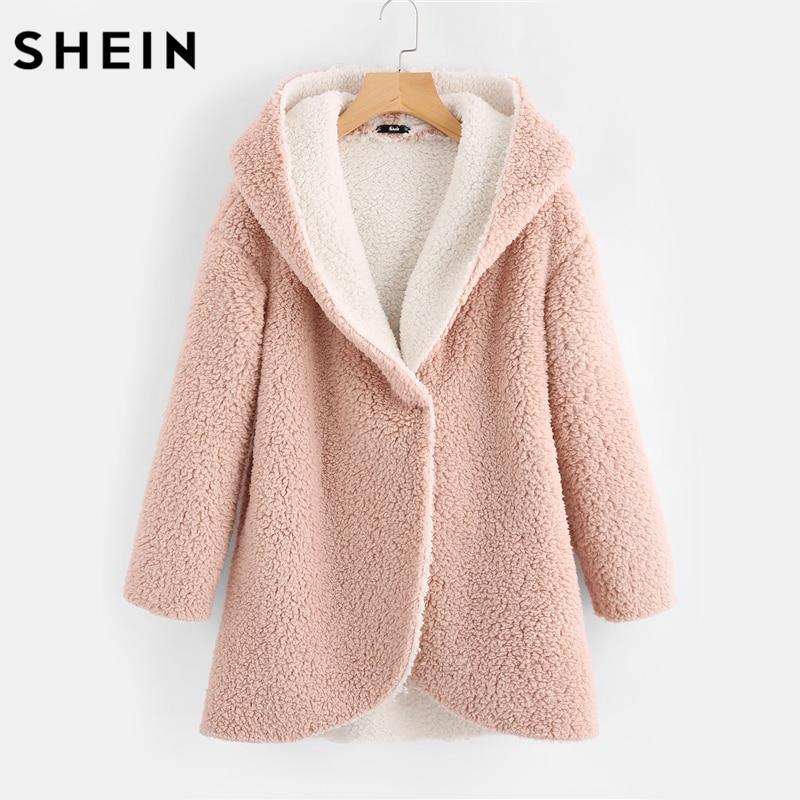 SHEIN Curved Hem Sherpa Fleece Hoodie Coat Womens Winter Coats Pink Single Breasted Warm Woman Parkas Female Coat