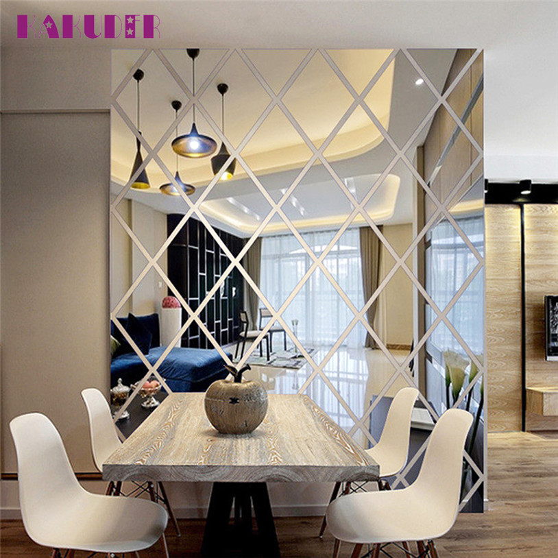 DIY 3D Sticker Acrylic Crystal Wall Stickers Living Room Bedroom TV ...