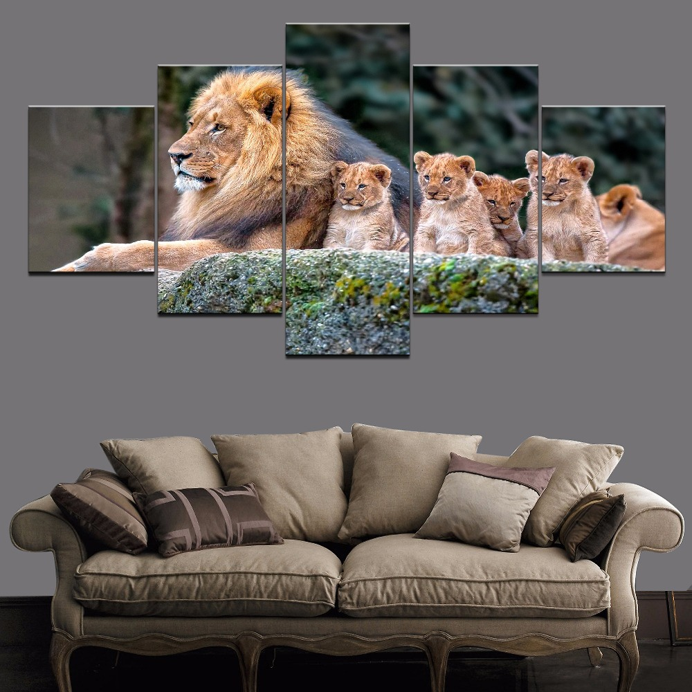 Animal Baby Big Cub Lion 5 Piece Canvas HD Print Animal Painting Canvas Wall Art For Living Room Modern Canvas Wall Art Painting in Painting Calligraphy from Home Garden