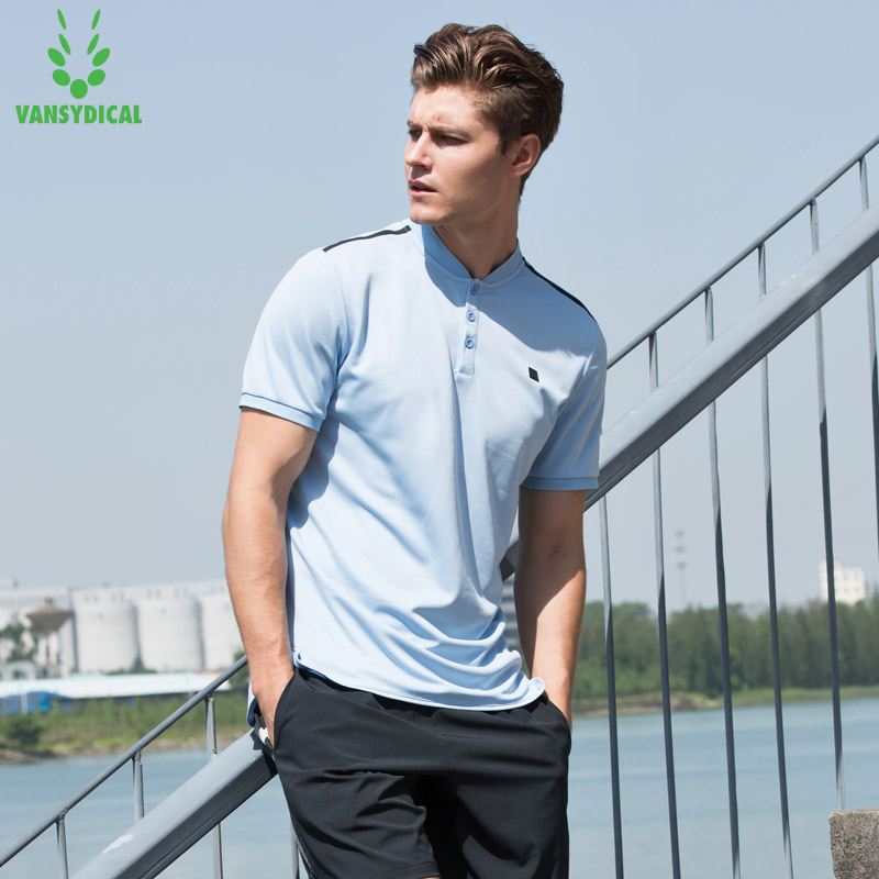 Vansydical Stand Collar Sports <font><b>Polo</b></font> <font><b>Shirt</b></font> <font><b>Men's</b></font> Tennis Training Tops <font><b>Quick</b></font> <font><b>Dry</b></font> Running Workout Short Sleeves image