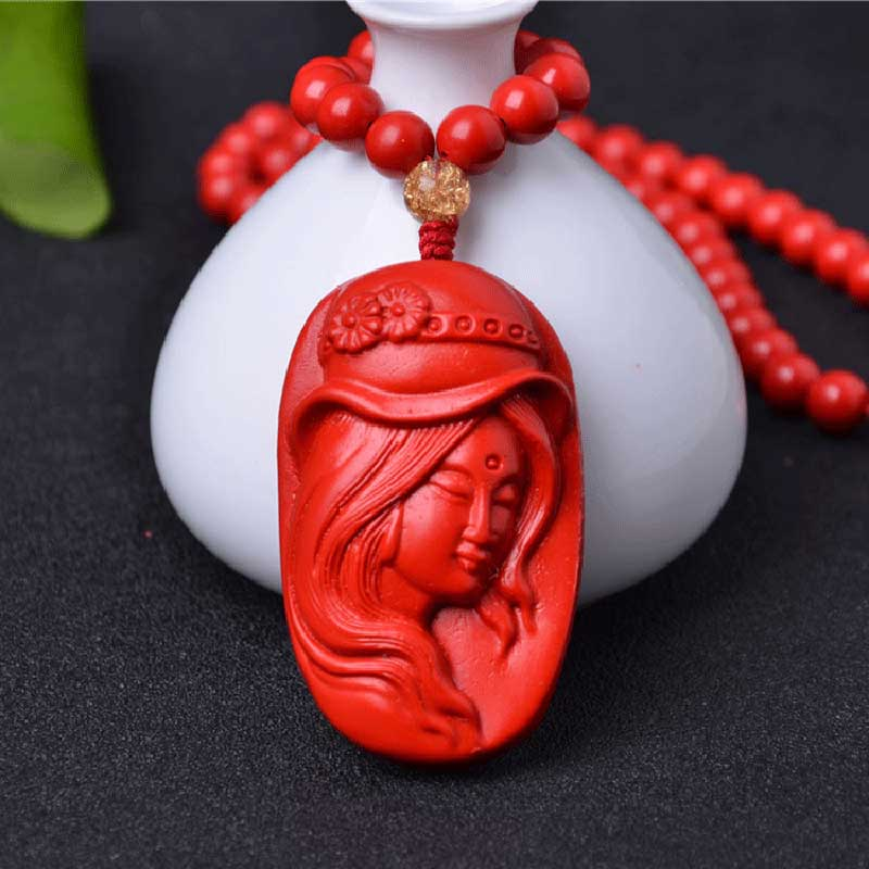 KYSZDL High - quality natural cinnabar carving beauty female pendant Women fashion sweater chain jewelry gifts