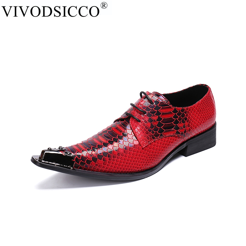 VIVODSICCO Fashion designer Snake Pattern Men Oxford Shoes Rivet Pointed Toe Derby Shoes Party Wedding Lace Up Men Dress Shoes luxury pointed toe rivet casual shoes england designer party and banquet men loafers fashion young man walking street shoes