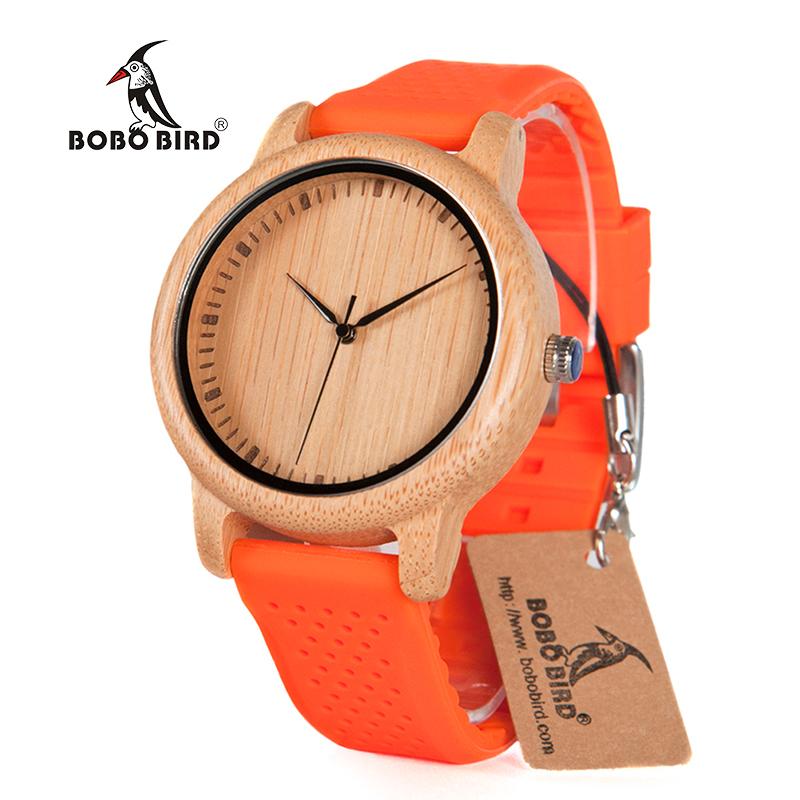 Zegarek drewniany Bobo Bird Color Silikon Orange B05 5