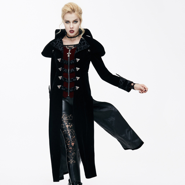 Devil Fashion Gothic Palace Wind Slim Jackets for Ladies Steampunk 2017 Autumn Winter Black Red Long Coats Casual Overcoats