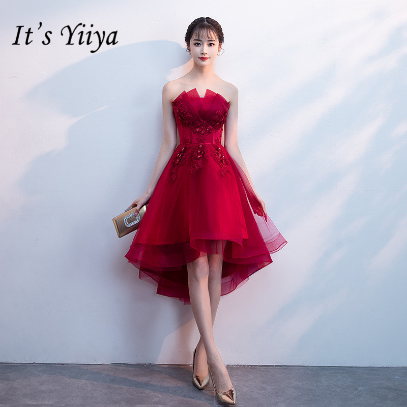 It's YiiYa Wine Red Sleeveless Cocktail Dress Embroidery Back Lace Formal Dress StraplessParty Gown H201