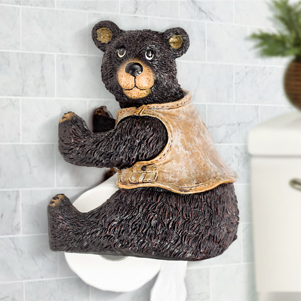 New resin cute bear toilet paper holder creative towel holders toilet roll paper holders animal