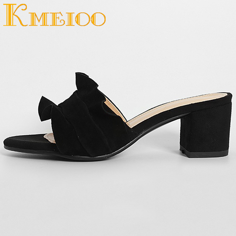 Kmeioo Women Sandals 2018 Fashion Ruffles Slippers Block Heels Slip On Loafers Pleated Ladies Dress Casual Shoes Size US 5 14