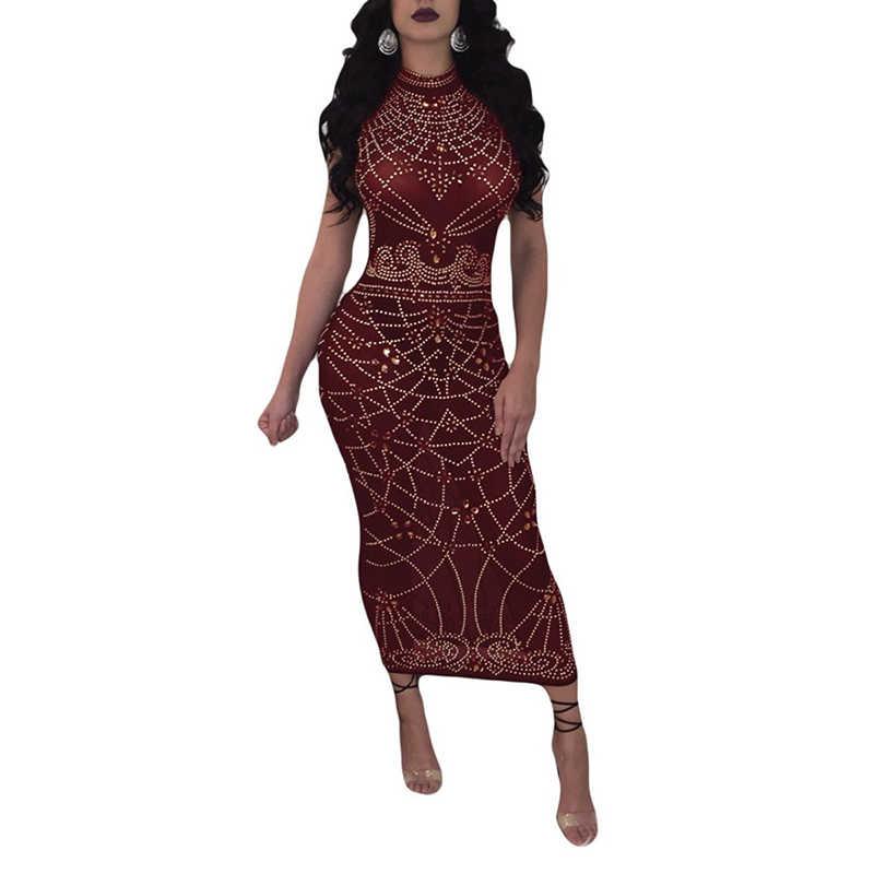 2018 frauen Sexy Kleid Ärmellose Abend Party Nacht Dünnes Transparent Mode Afrikanische Damen Kleider Sommer Neue