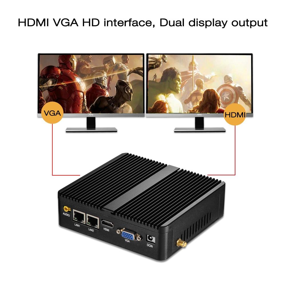 Image 4 - HLY Mini PC Dual LAN Celeron N2810 Celeron J1900 Mini Computer Gigabit LAN Windows 7 pfsense firewall PC Mini 2*COM HDMI TV BOX-in Mini PC from Computer & Office