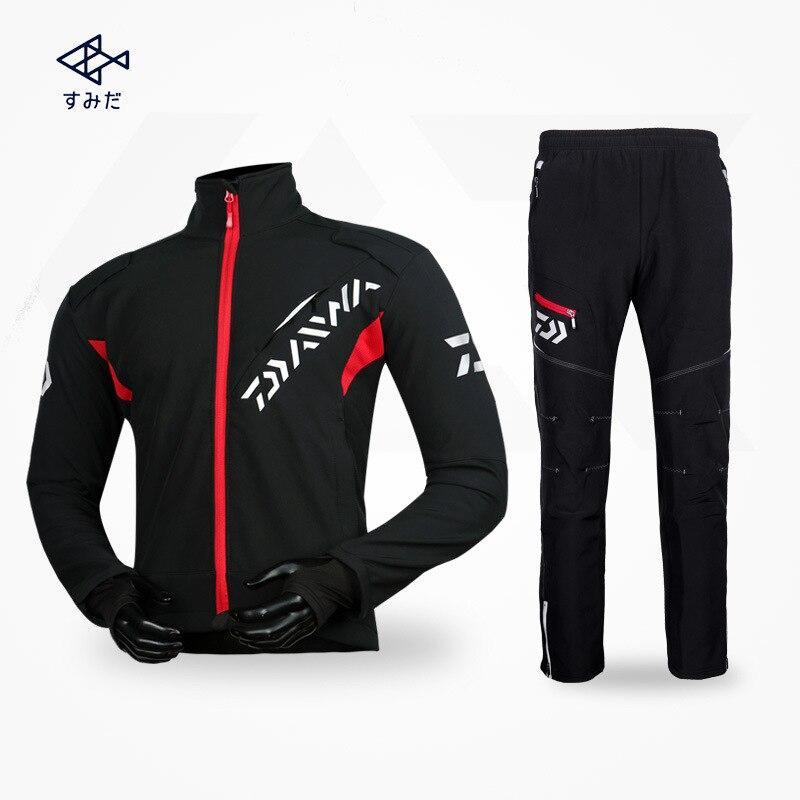 Daiwa Long Sleeve Waterproof Fishing Clothes Pants Coat Suit Windproof Jacket Outdoor Hiking Coat Warm Fishing Suit