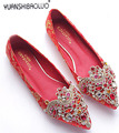 Rhinestone pointed toe flat wedding shoes bridal wedding red shoes flat heel Large shallow mouth red women's shoes cheongsam