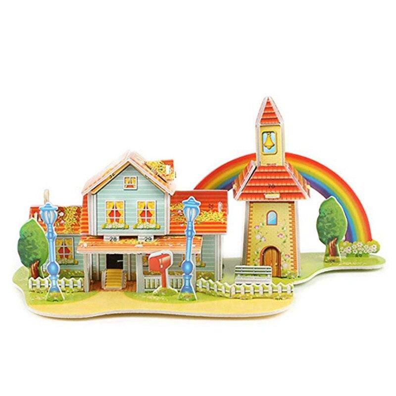 Бумага паззлами раннего обучения Строительная сборка детей украшения дома английские детские игры раннее образование игрушки - Цвет: YJL80925771C