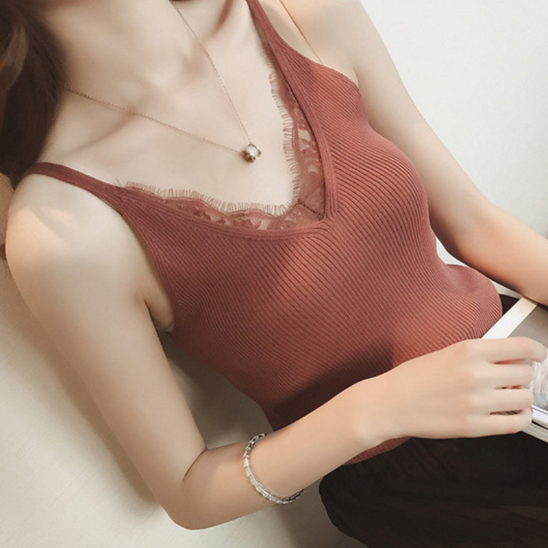 Lace Knitted Tank Tops Female spaghetti Sexy V-neck Vest Solid Club Tops Women Black white T shirt ribbed Cotton blend tank Top