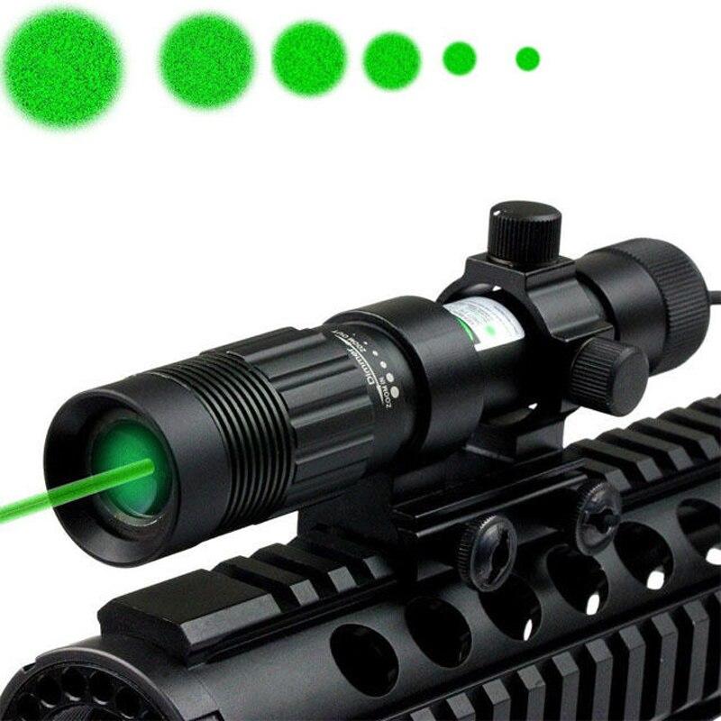 Tactique Réglable 5 mW Vert Vue de Laser/Illuminateur/lampe de Poche W/Monture weaver Chasse Laser Vue Avec 21mm Rail